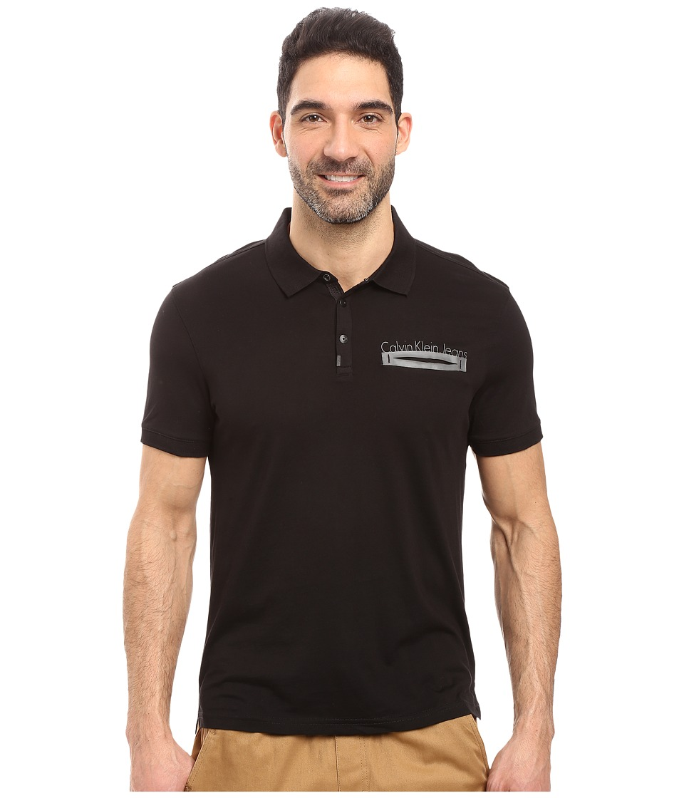 Calvin Klein Jeans - Logo Polo (Black) Men's Clothing