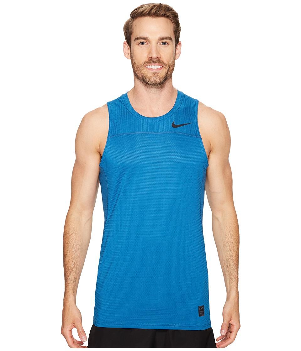 Nike Pro Hypercool Tank (Industrial Blue/Ghost Green/Black) Men