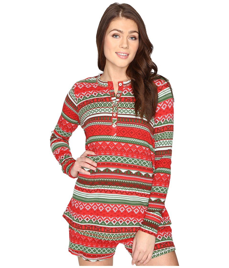 Show Me Your Mumu - Hibernate Henley (Gingerbread Stripe) Women's Clothing
