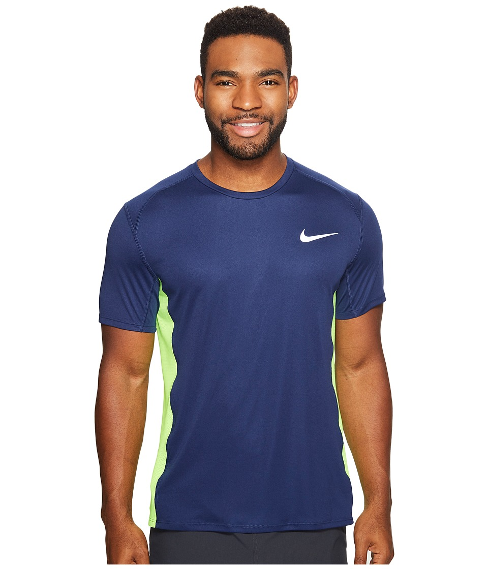 Nike - Dry Miler Short Sleeve Running Top (Binary Blue/Electric Green) Men's Clothing