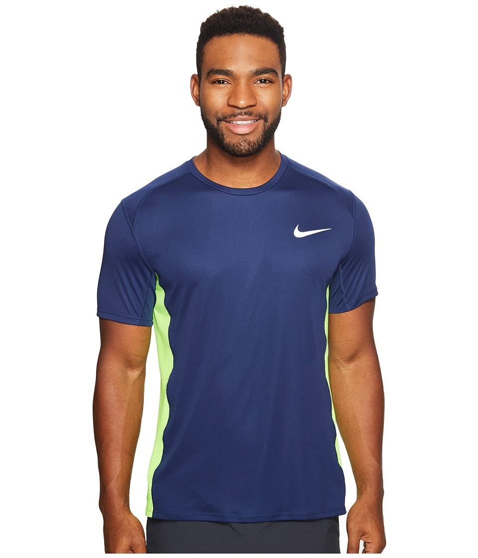 Nike - Dry Miler Short Sleeve Running Top (Binary Blue/Electric Green) Men's Clothing