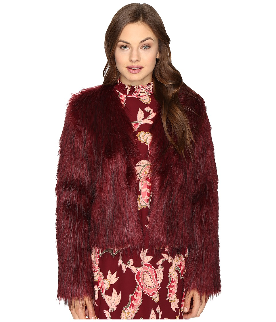 Show Me Your Mumu - One Oak Crop (Ruby Red Faux Fur) Women's Clothing