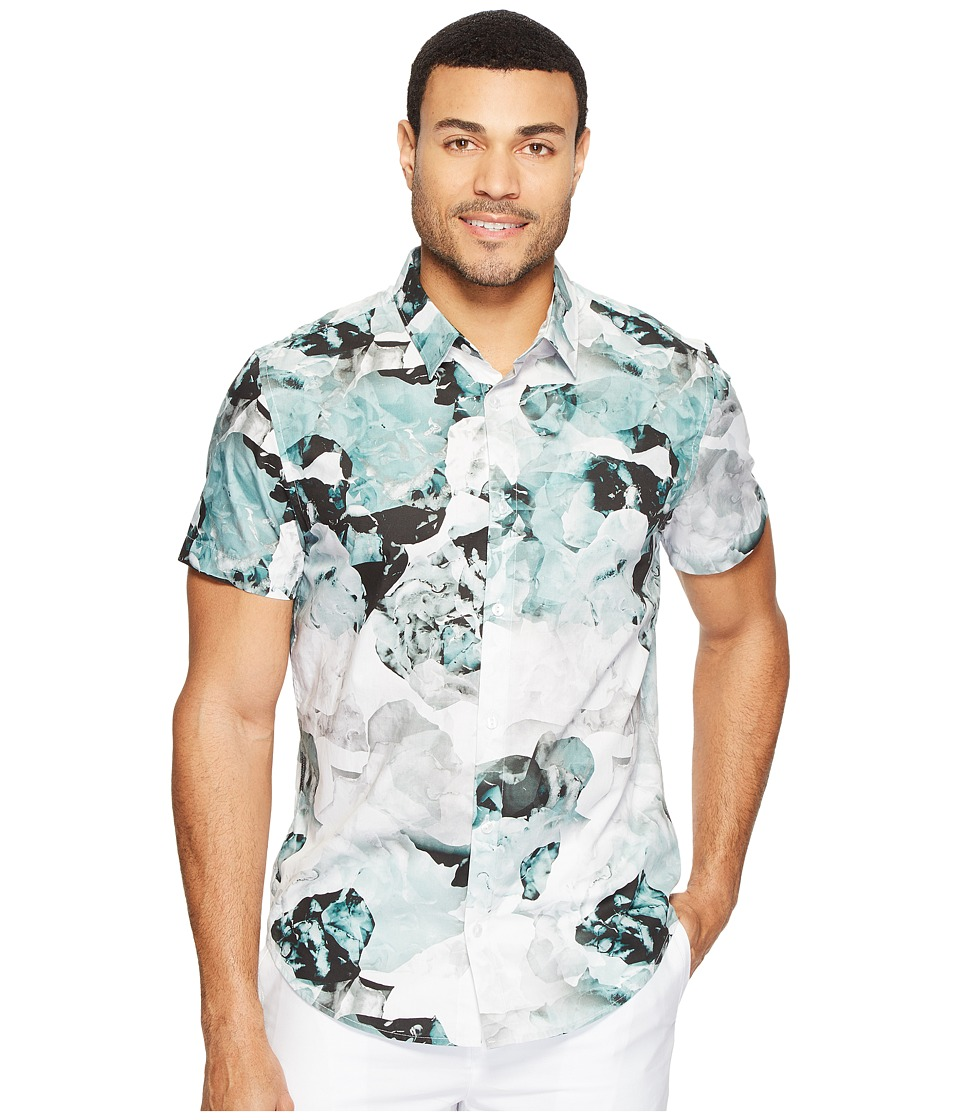 Calvin Klein - Short Sleeve Watercolor Flora (Frosted Jade) Men's Clothing