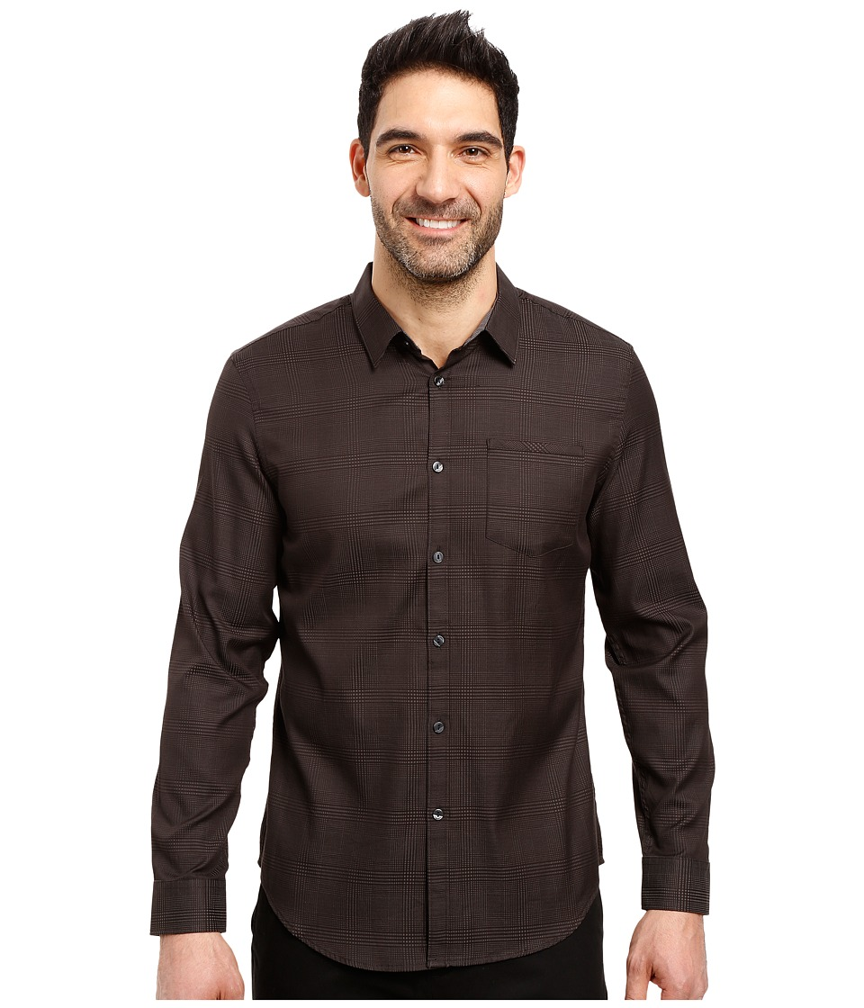 Calvin Klein - Long Sleeve Jacquard Plaid (Black) Men's Clothing