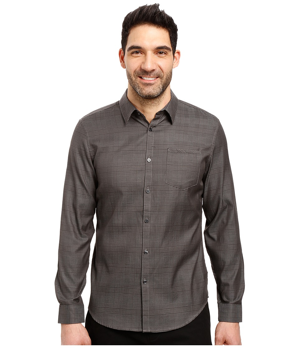 Calvin Klein - Long Sleeve Jacquard Plaid (True Grey) Men's Clothing