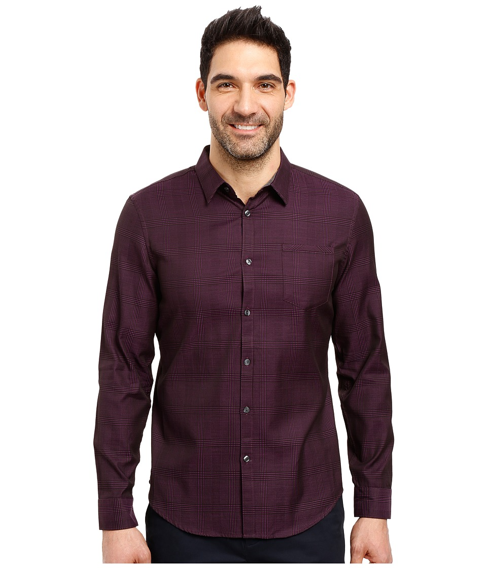 Calvin Klein - Long Sleeve Jacquard Plaid (Gothic Grape) Men's Clothing