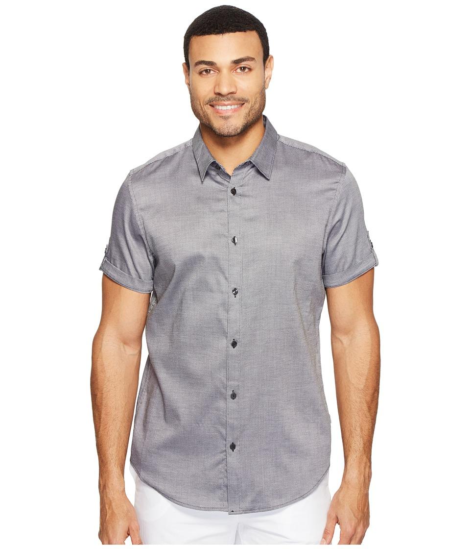 Calvin Klein - Short Sleeve Oxford Dobby Shirt (Monument) Men's Clothing