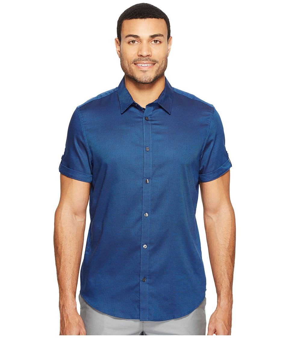 Calvin Klein - Short Sleeve Oxford Dobby Shirt (Magnetic Blue) Men's Clothing