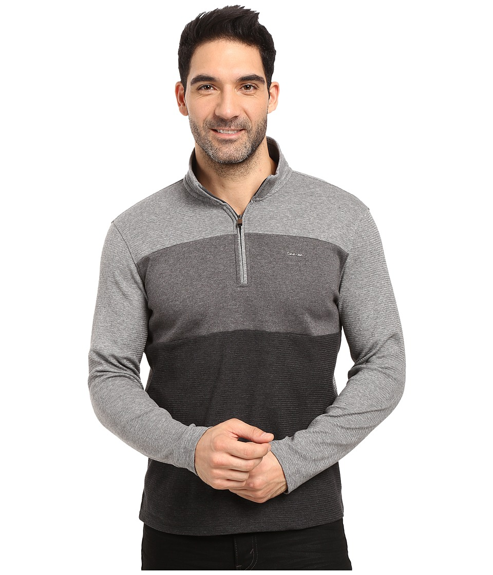 Calvin Klein - Colorblock Mock Neck Quarter Zip Sweatshirt (Black) Men's Clothing