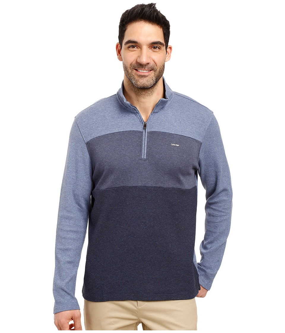 Calvin Klein - Colorblock Mock Neck Quarter Zip Sweatshirt (Blue Heather) Men's Clothing