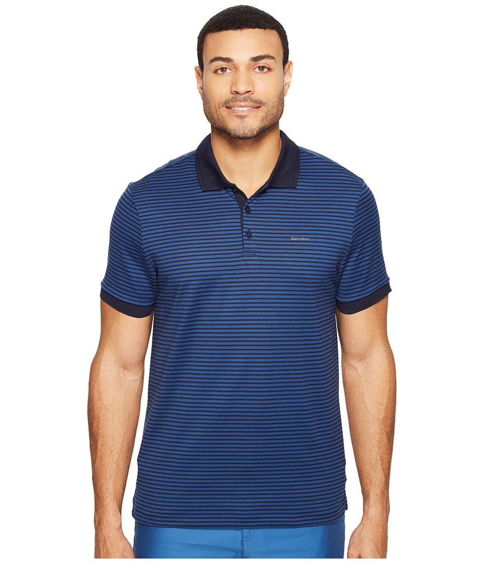 Calvin Klein - Short Sleeve Auto Stripe Mercerized (Astoria) Men's Clothing