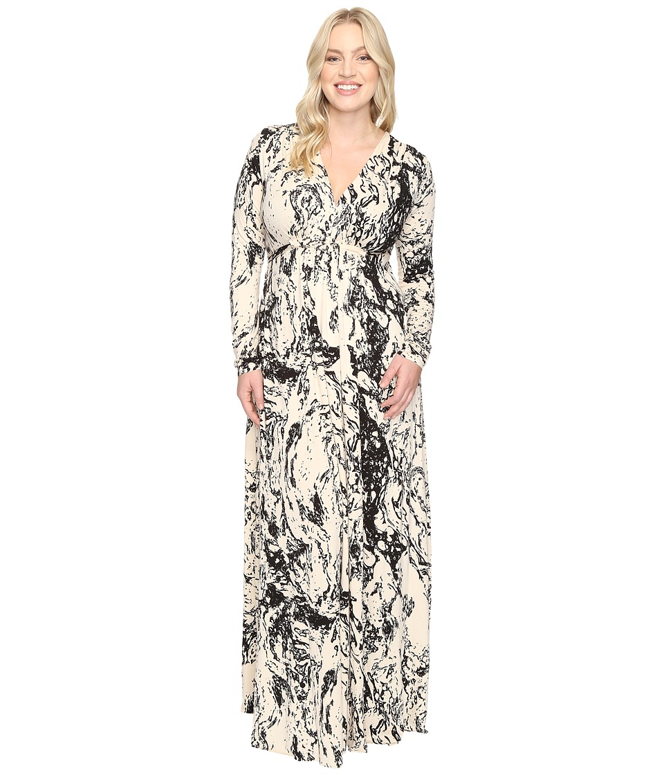 Rachel Pally - Plus Size Long Sleeve Full Length Caftan White Label (Space Dye) Women's Dress