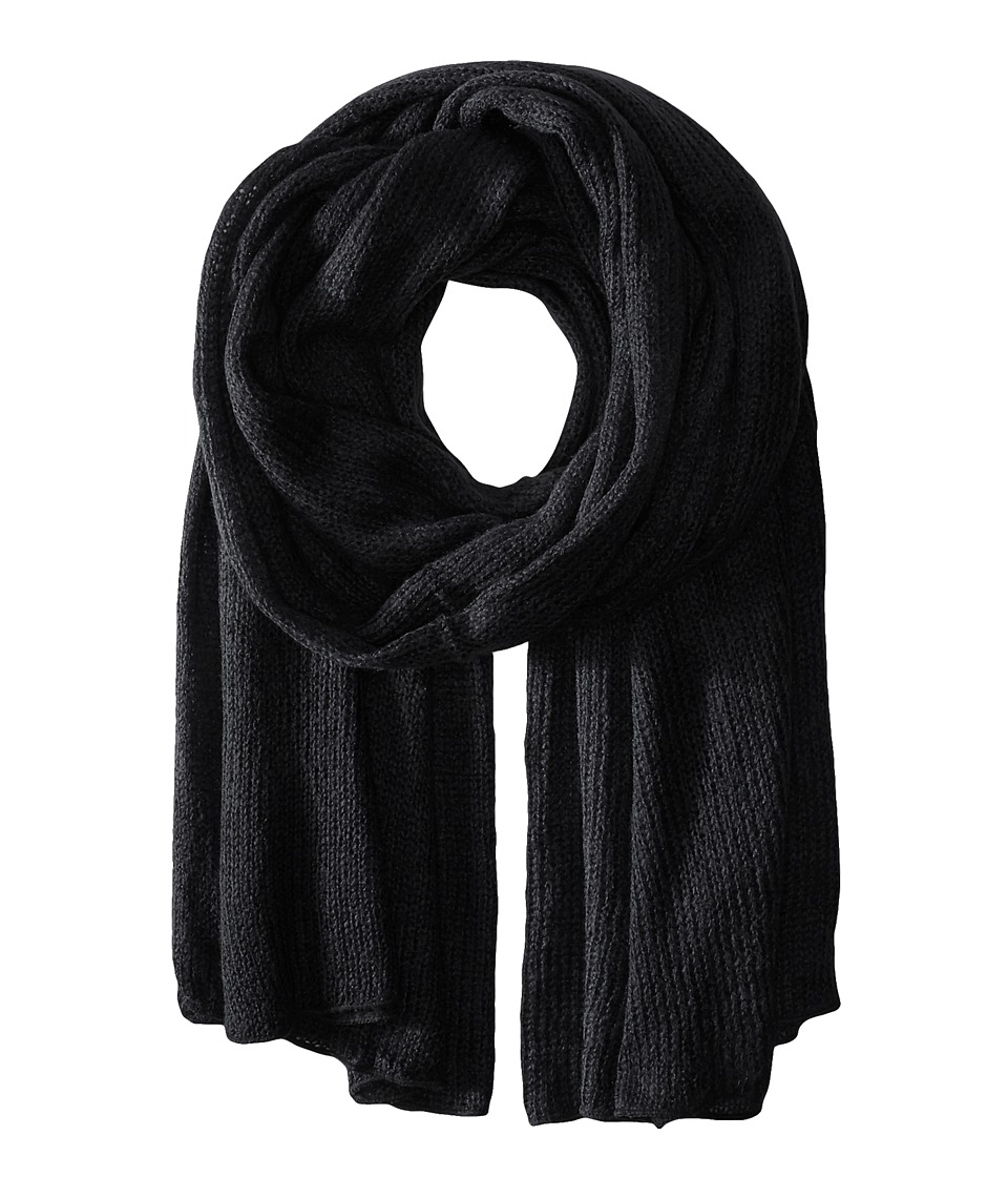 Steve Madden - Solid Knit Blanket Wrap (Black) Scarves