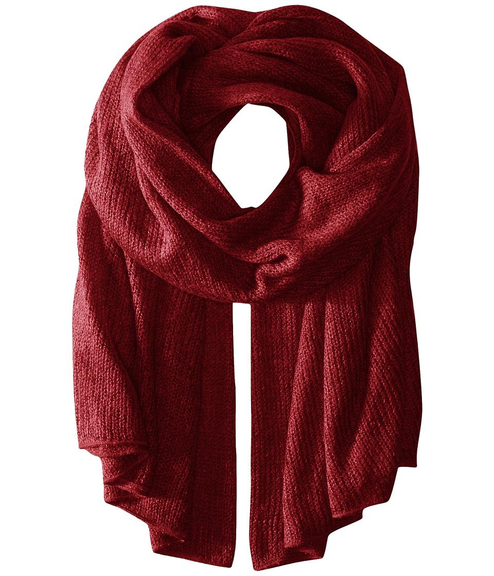 Steve Madden - Solid Knit Blanket Wrap (Maroon) Scarves