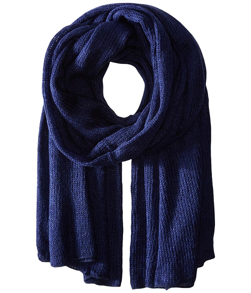 Steve Madden - Solid Knit Blanket Wrap (Navy) Scarves