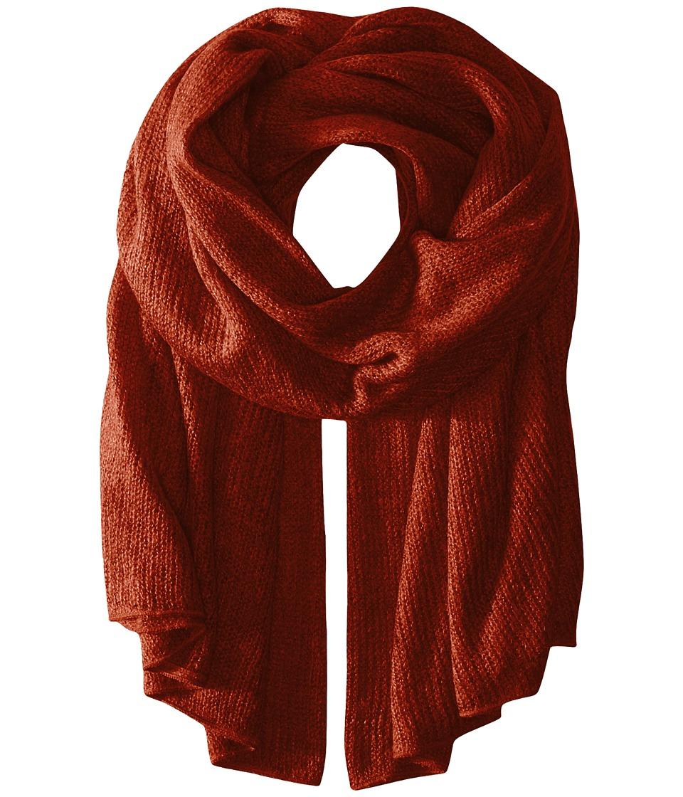 Steve Madden - Solid Knit Blanket Wrap (Rust) Scarves