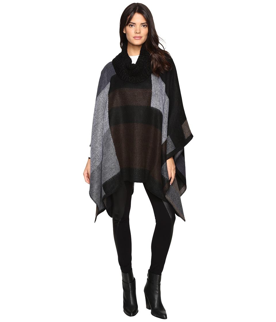 Steve Madden - Mondrain Color Block Turtleneck Poncho (Neutral) Women's Clothing