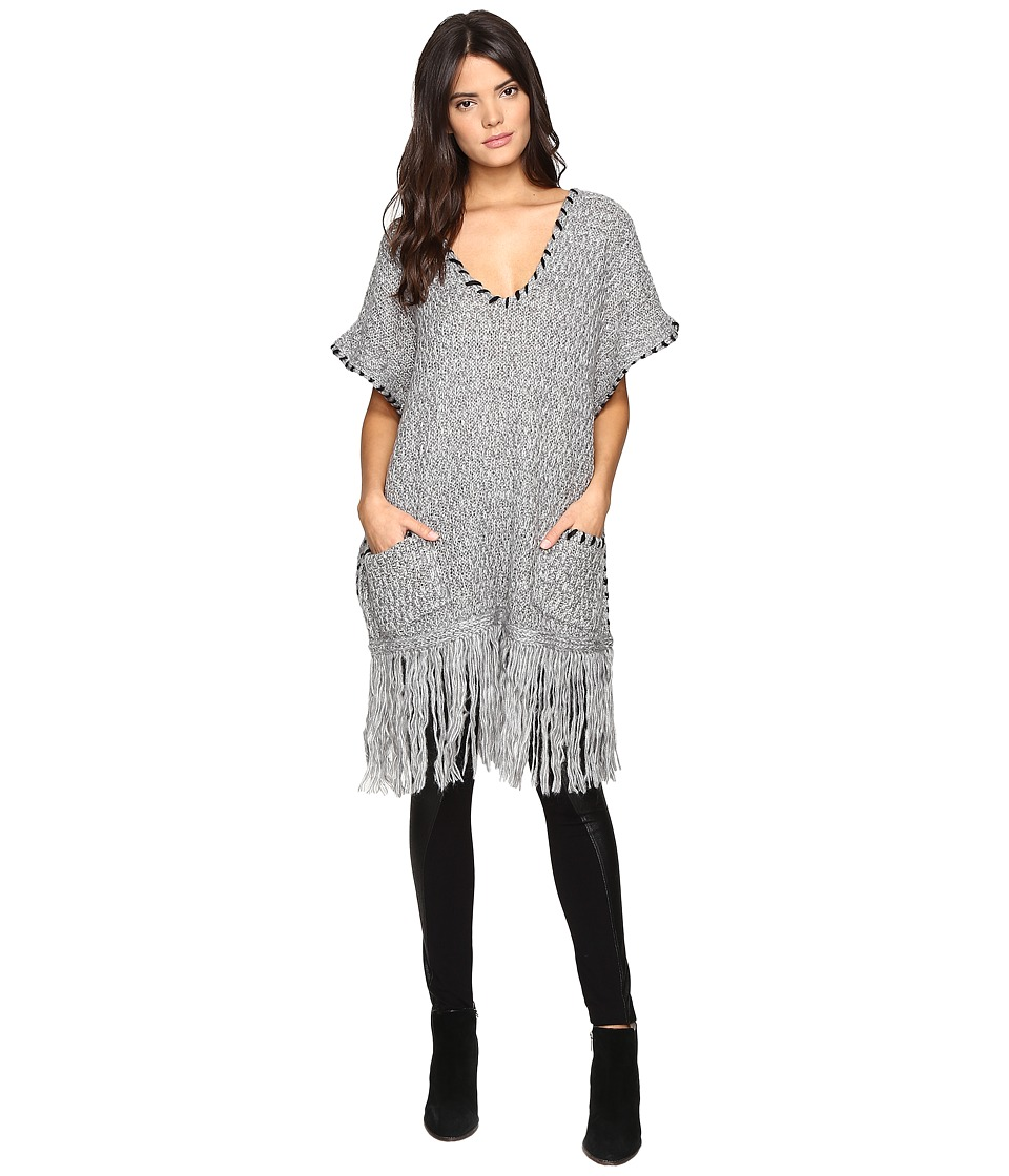 Steve Madden - V-Neck Poncho with Long Fringe (Grey) Women's Clothing