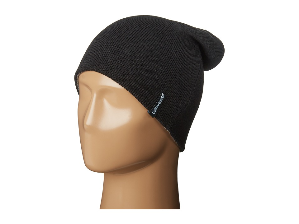 Converse - 4 Way Reversible Knit Beanie (Converse Black) Beanies