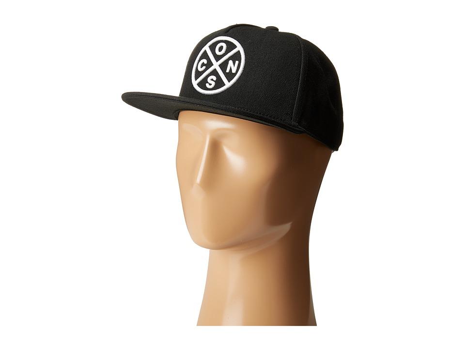 Converse - Cons Crossing Snapback Cap (Converse Black) Caps