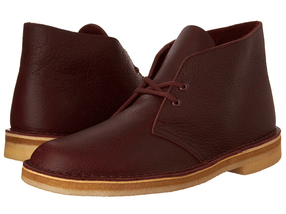 Clarks - Desert Boot (Burgundy Tumbled Leather) Men's Lace-up Boots
