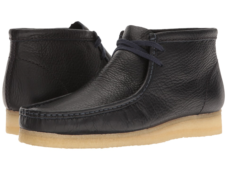 Clarks - Wallabee Boot (Navy Tumbled Leather) Men's Lace-up Boots