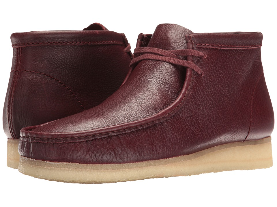 Clarks - Wallabee Boot (Burgundy Tumbled Leather) Men's Lace-up Boots