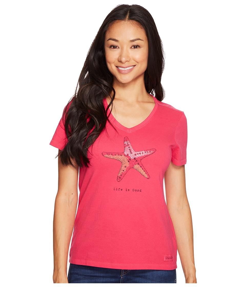 Life is Good - Starfish Crusher Vee (Pop Pink) Women's T Shirt