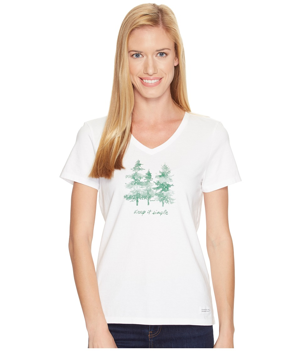 Life is Good - Keep It Simple Crusher Vee (Cloud White) Women's T Shirt