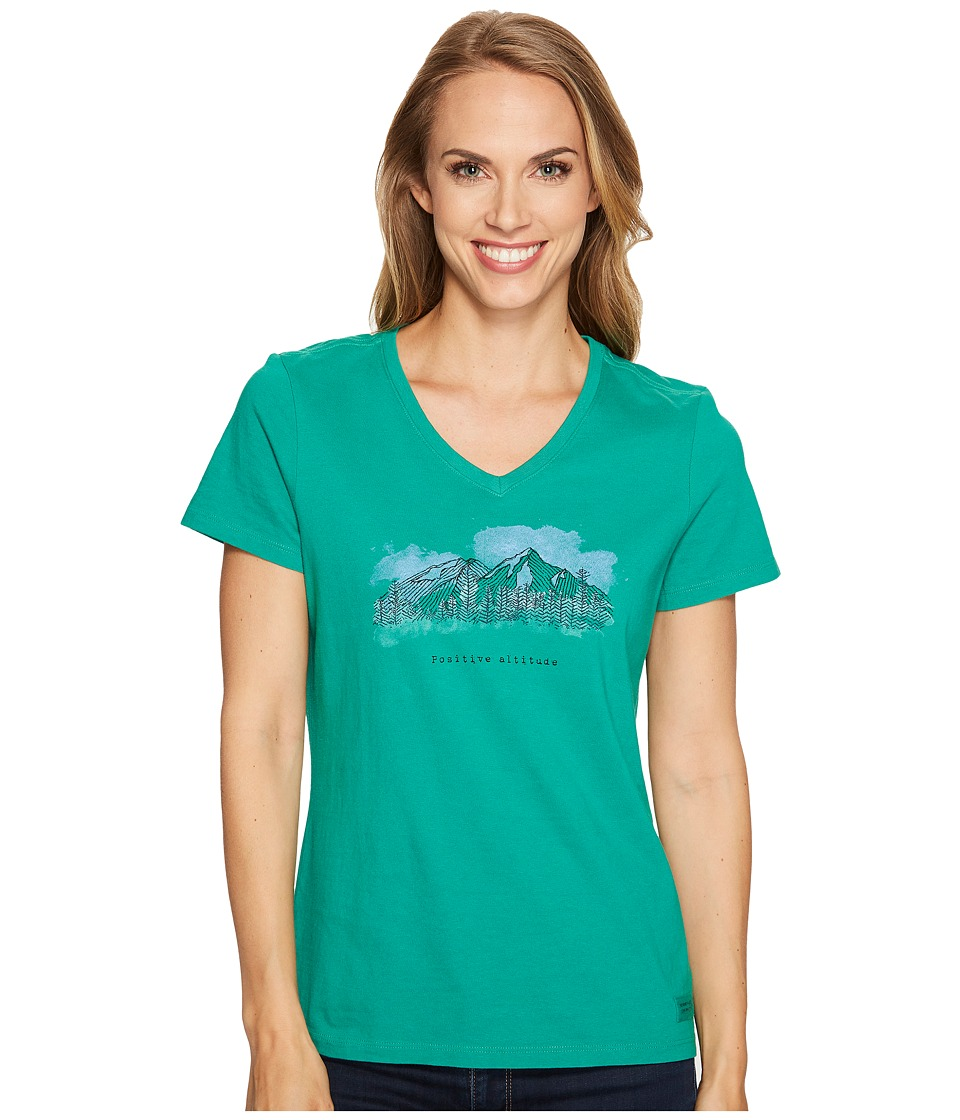 Life is Good - Positive Altitude Crusher Vee (Jungle Green) Women's T Shirt