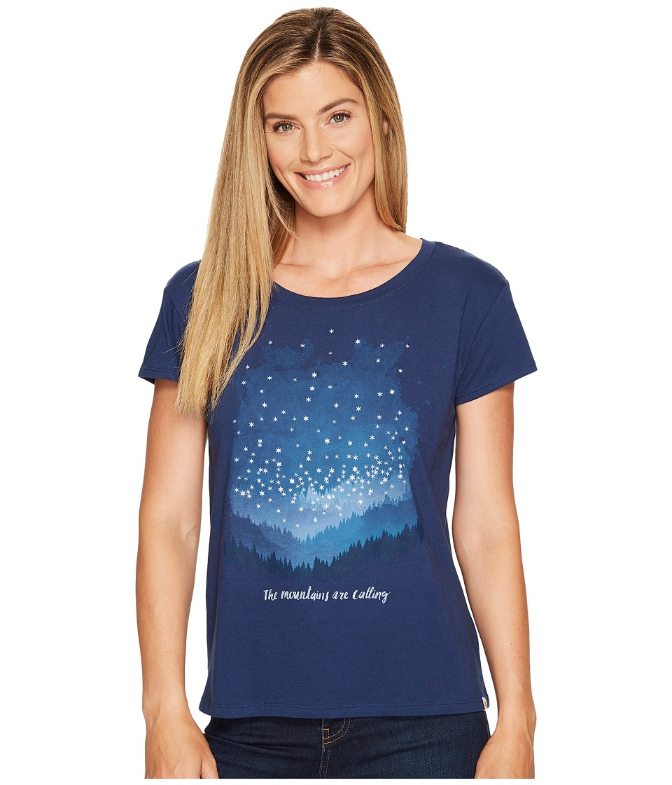 Life is Good Mountains Calling Breezy Tee (Darkest Blue) Women