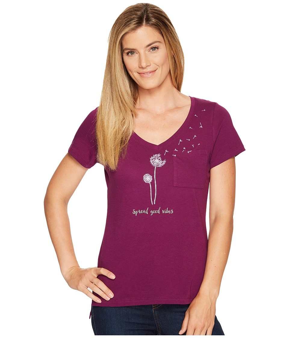 Life is Good - Good Vibes Pocket Vibe Tee (Deep Plum) Women's T Shirt