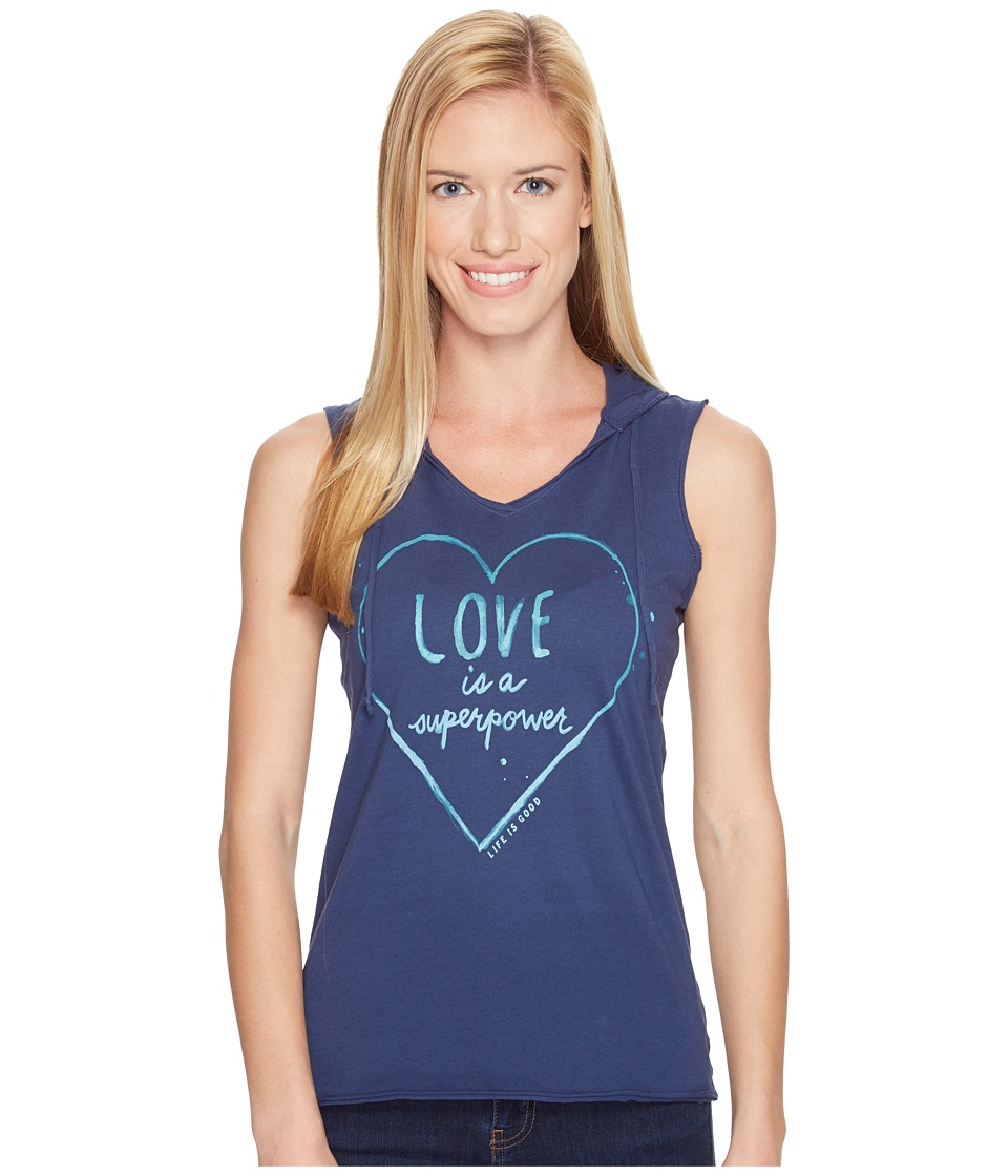 Life is Good - Love Hoodie Smooth Tee (Darkest Blue) Women's Sleeveless