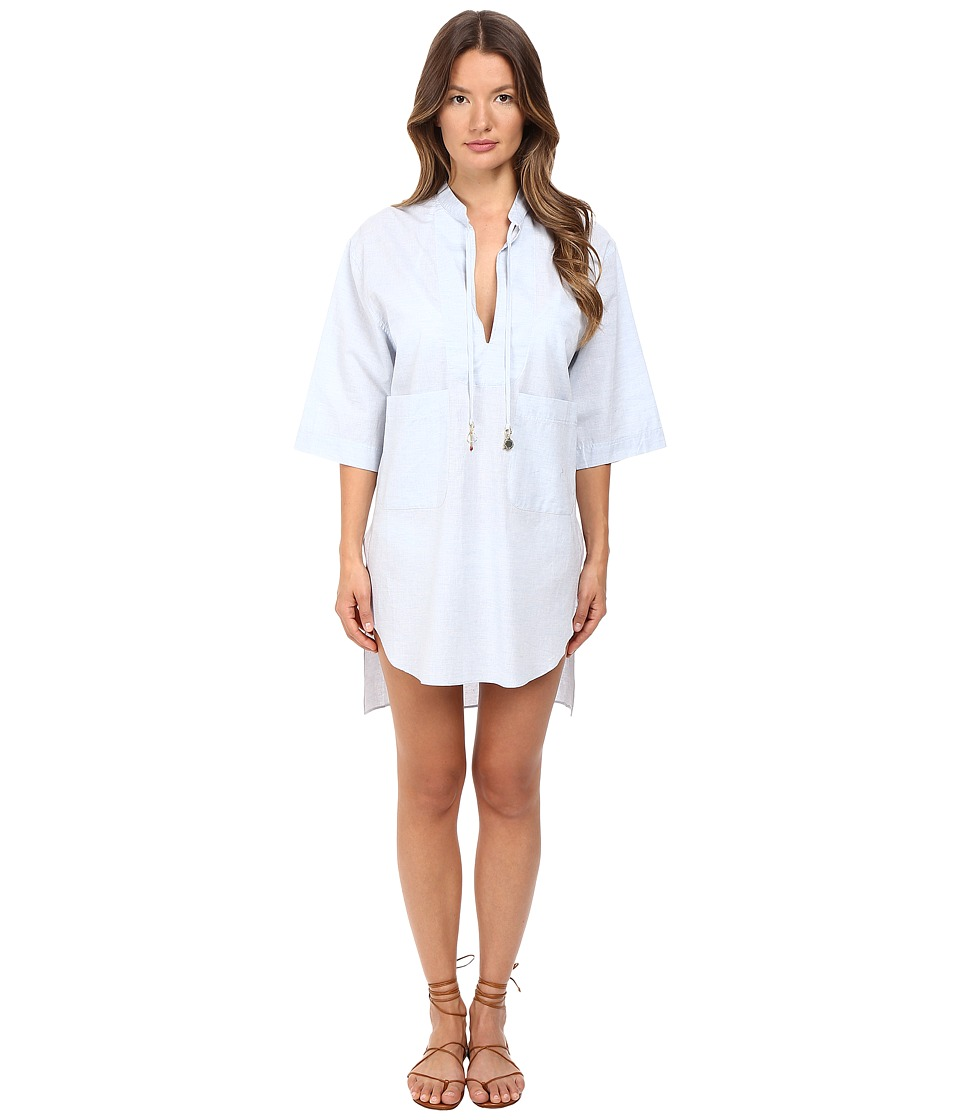 Stella McCartney - Crochet Shirt Cover-Up (Blue Chambray) Women's Swimwear