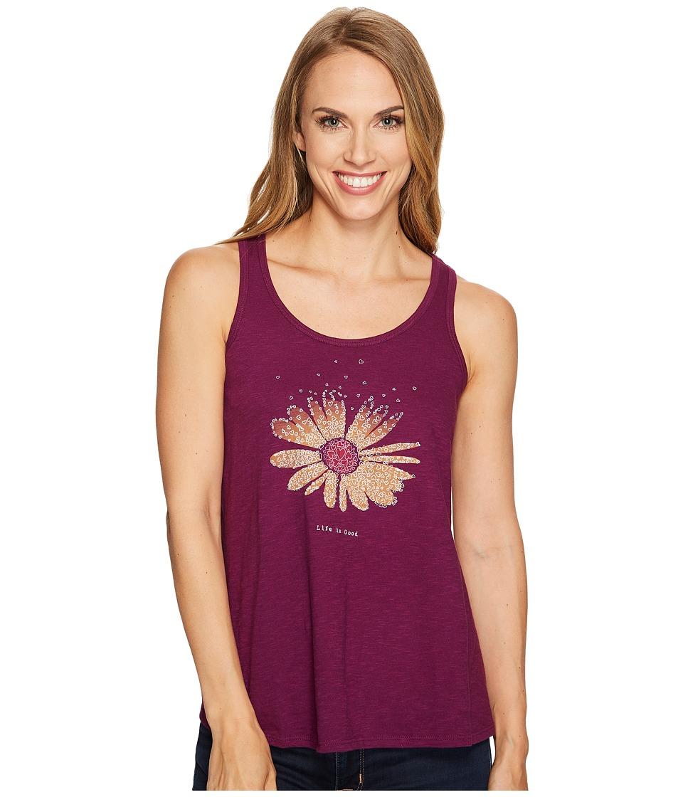 Life is Good - Flower Breezy Tank (Deep Plum) Women's Sleeveless