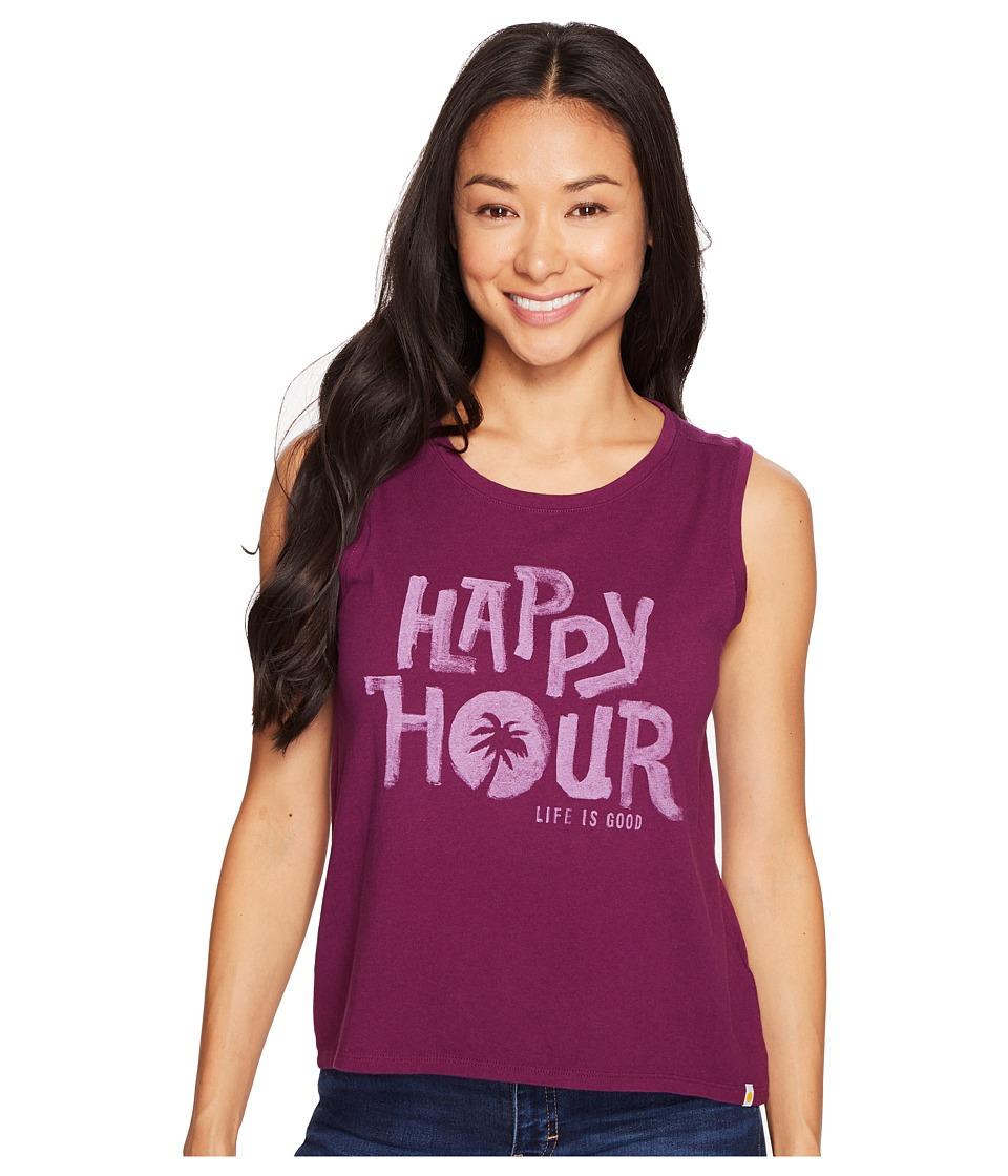 Life is Good - Happy Hour Muscle Tee (Deep Plum) Women's Sleeveless