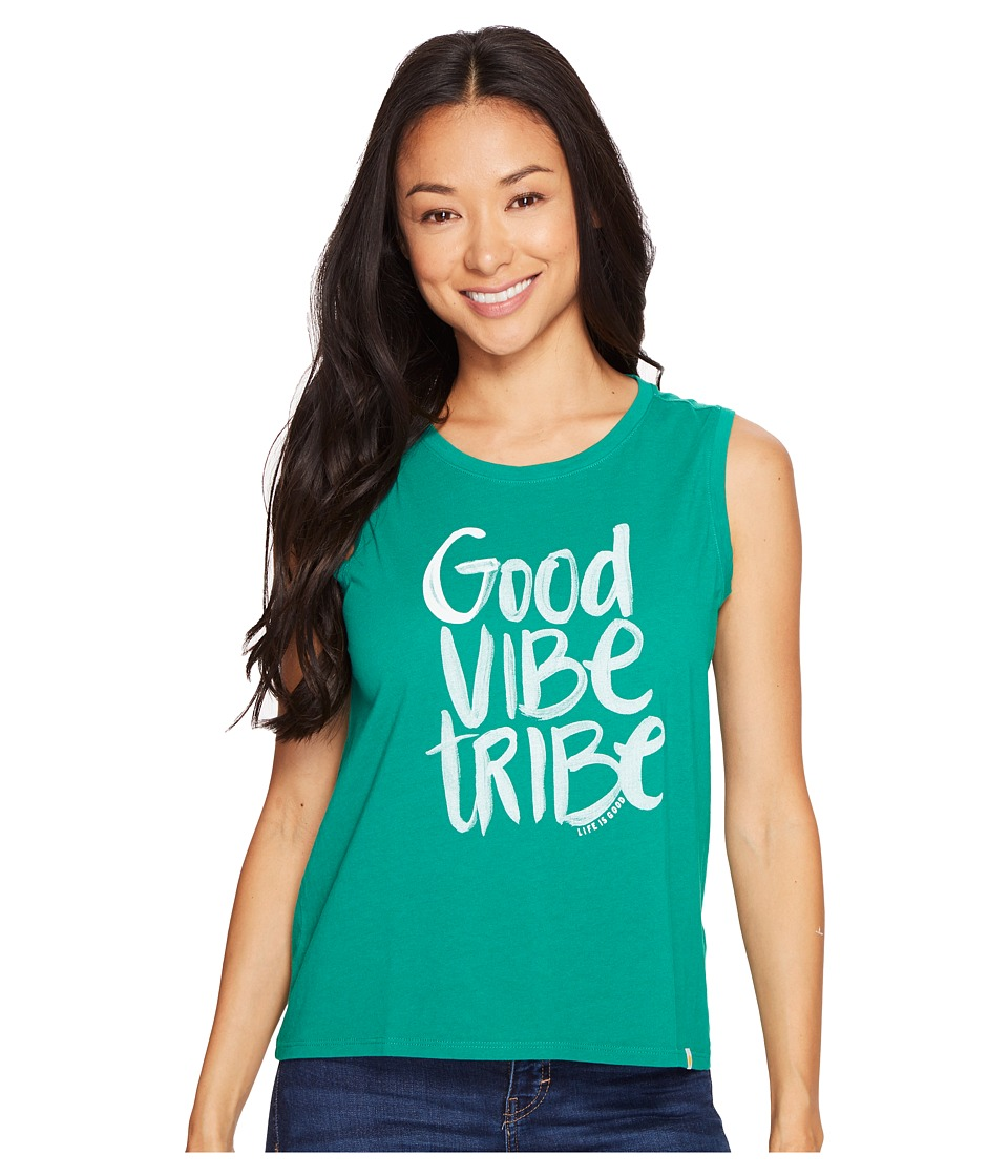 Life is Good - Good Vibe Tribe Muscle Tee (Jungle Green) Women's Sleeveless