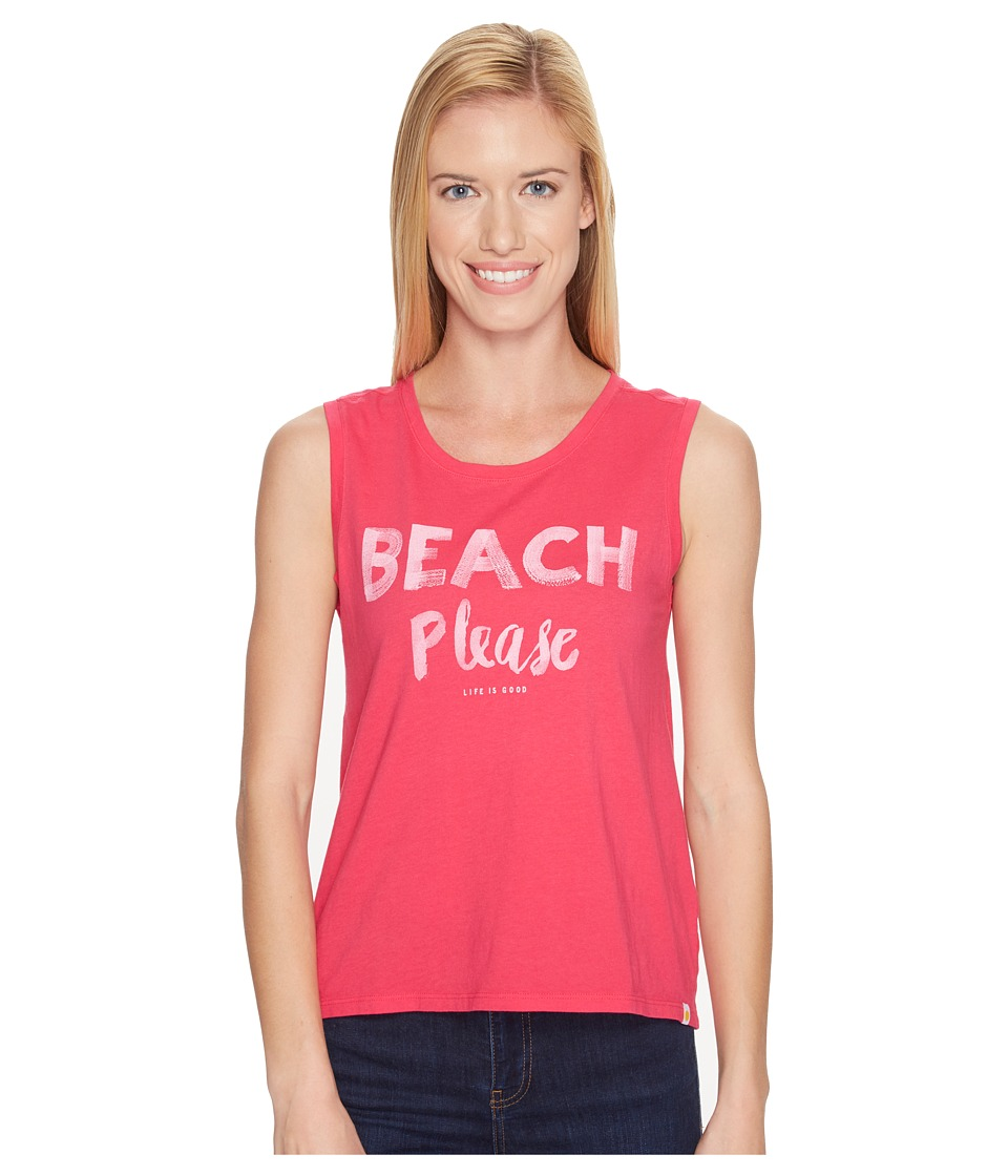 Life is good - Beach Please Muscle Tee (Pop Pink) Women's Sleeveless