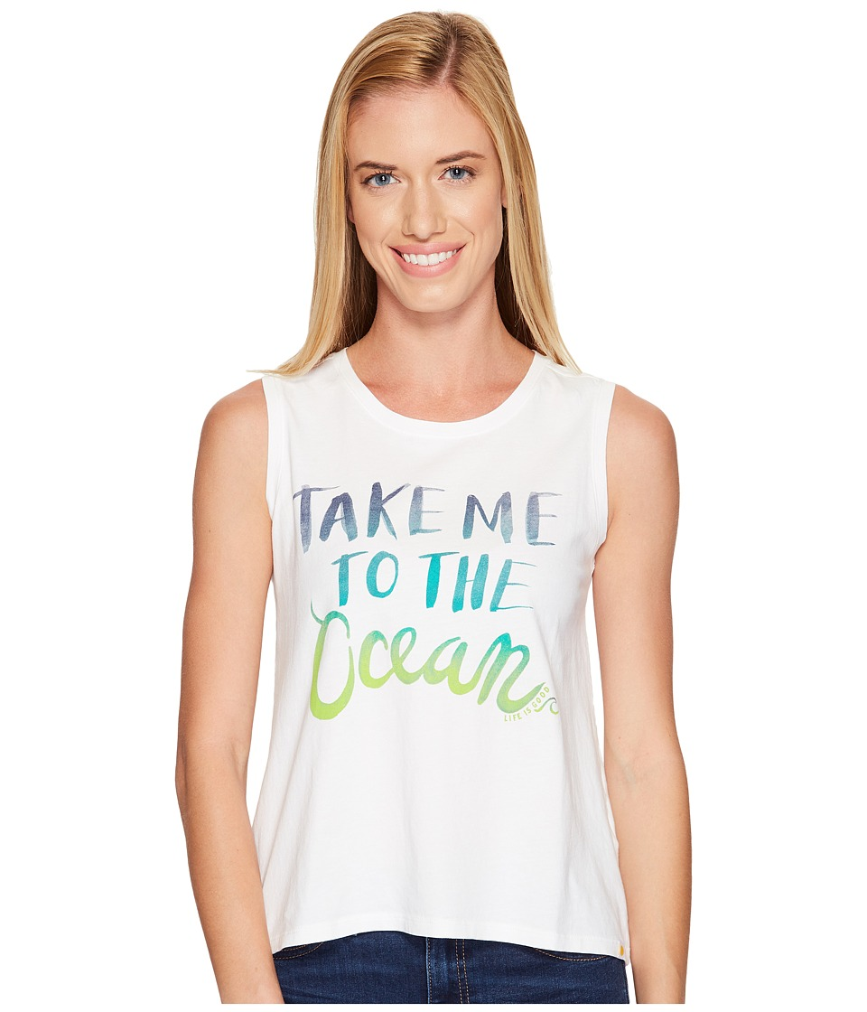 Life is Good - Take Me Ocean Muscle Tee (Cloud White) Women's Sleeveless