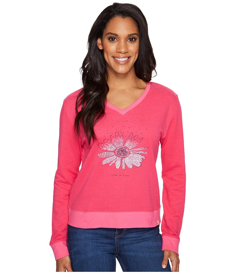 Life is Good - Flower Summertime Sweatshirt (Pop Pink) Women's Sweatshirt