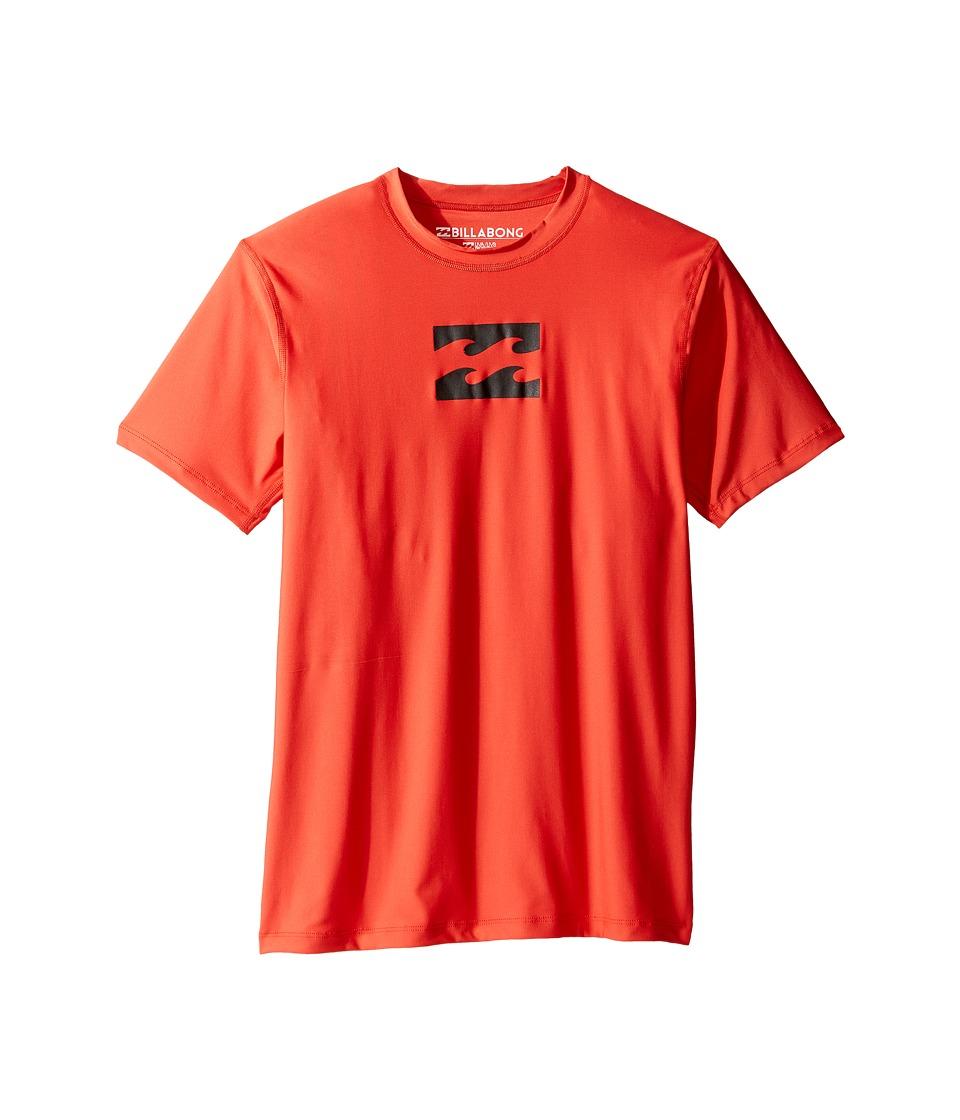 Billabong Kids - All Day Wave Short Sleeve LF Wetshirt (Big Kids) (Neo Red) Boy's Swimwear