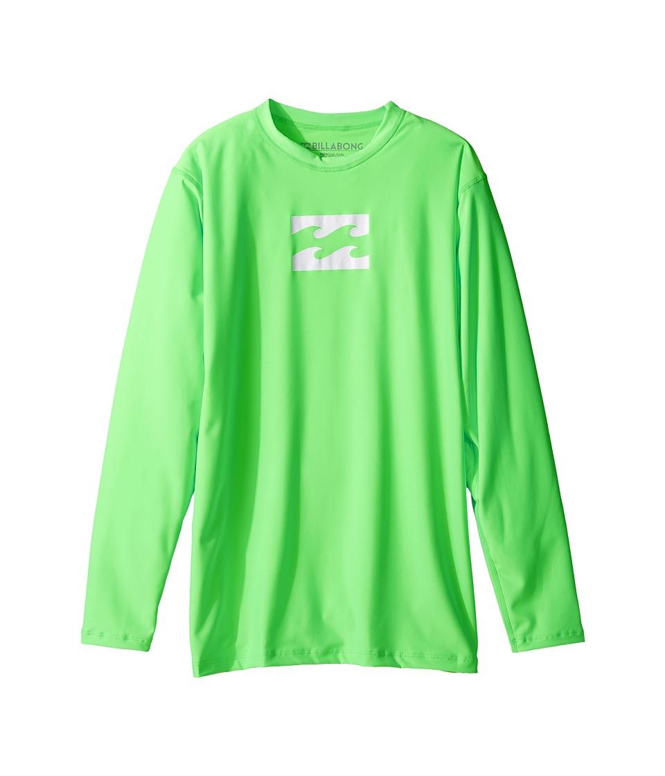 Billabong Kids - All Day Wave Long Sleeve LF Wetshirt (Toddle/Little Kids/Big Kids) (Neo Green) Boy's Long Sleeve Pullover