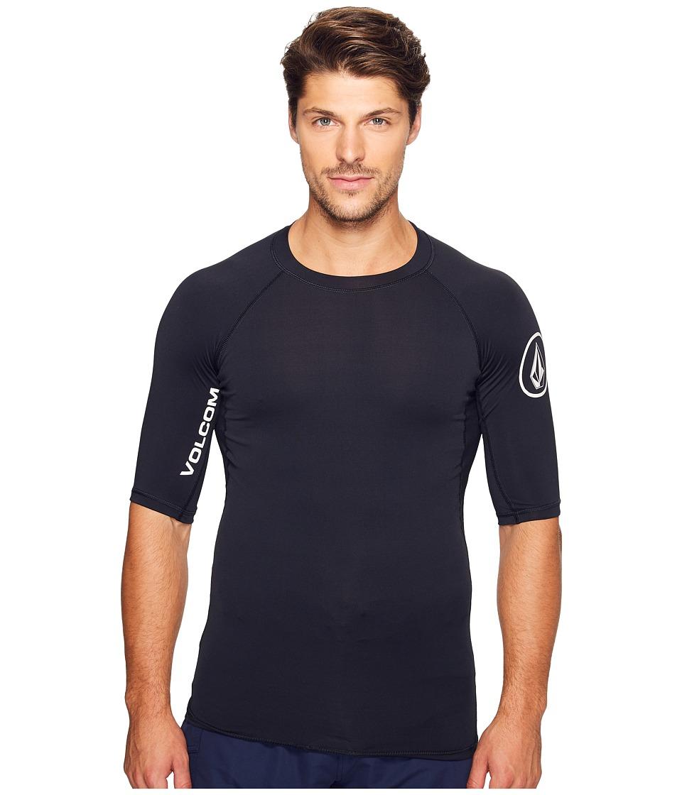 Volcom - Lido Solid Short Sleeve Rashguard (Black) Men's Clothing