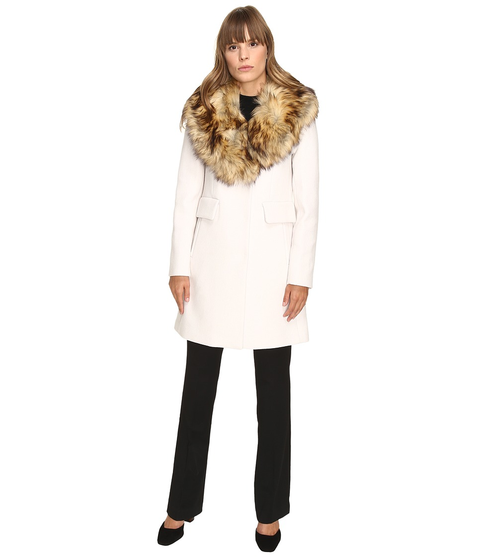 Kate Spade New York - Single Breasted Walker 34 w/ Faux Fur Asymmetric Collar (Light Shale) Women's Coat