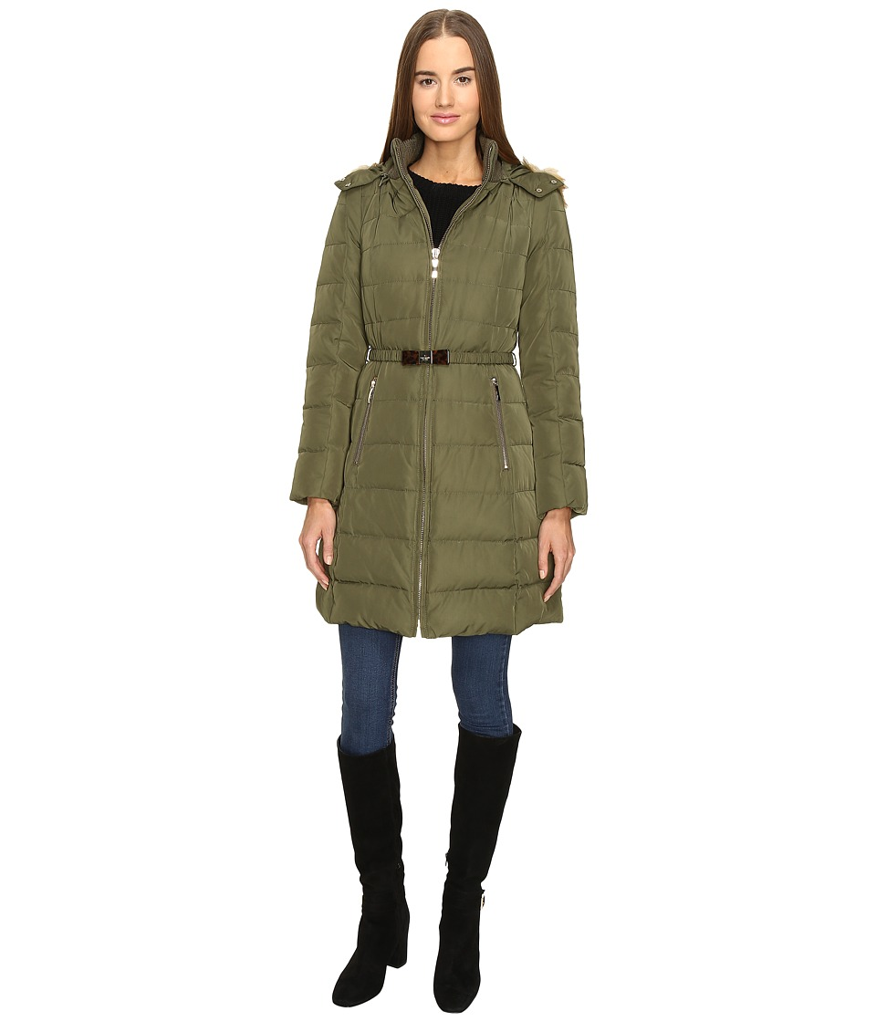 Kate Spade New York - Hooded Hard Down Coat w/ Faux Fur Trim 36 (Loden) Women's Coat