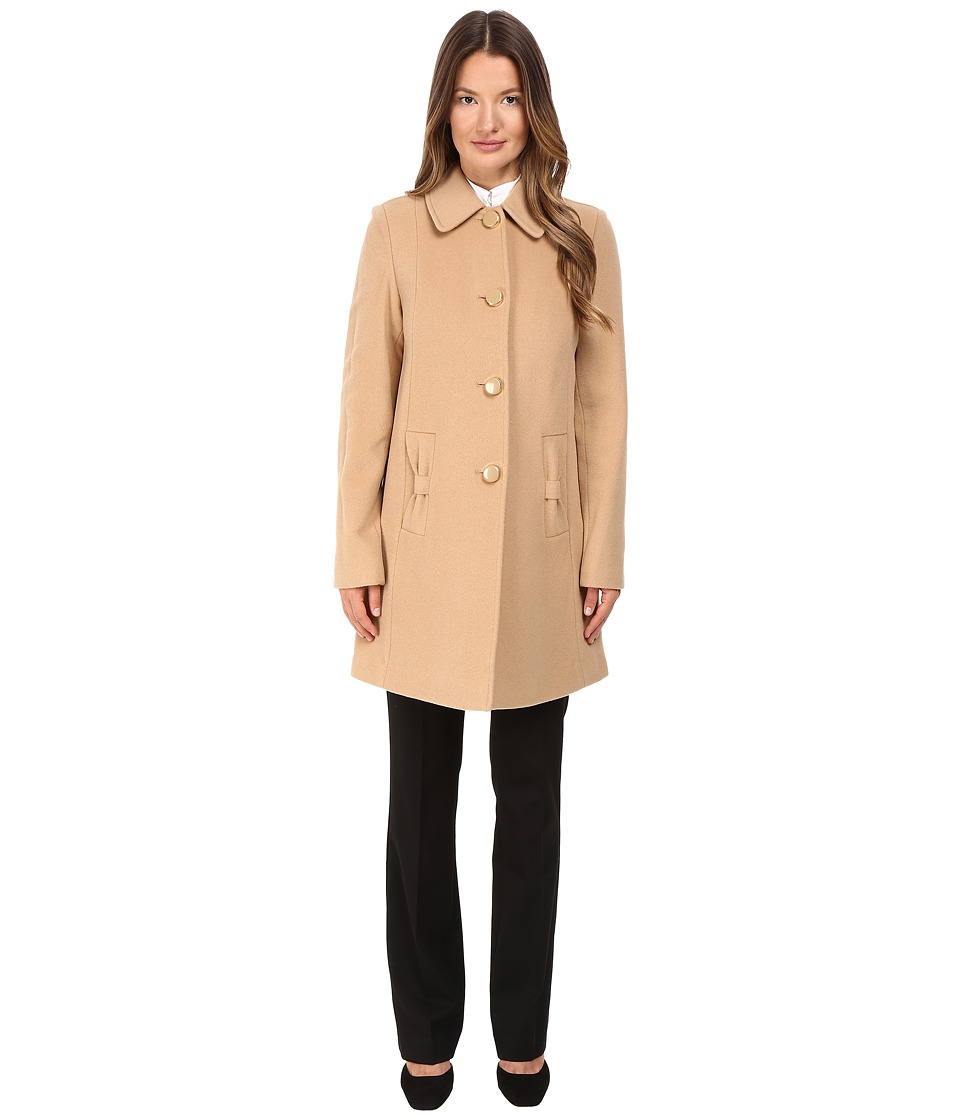 Kate Spade New York - 4-Button A-Line Single Breasted Coat w/ Bow Pockets (Camel) Women's Coat