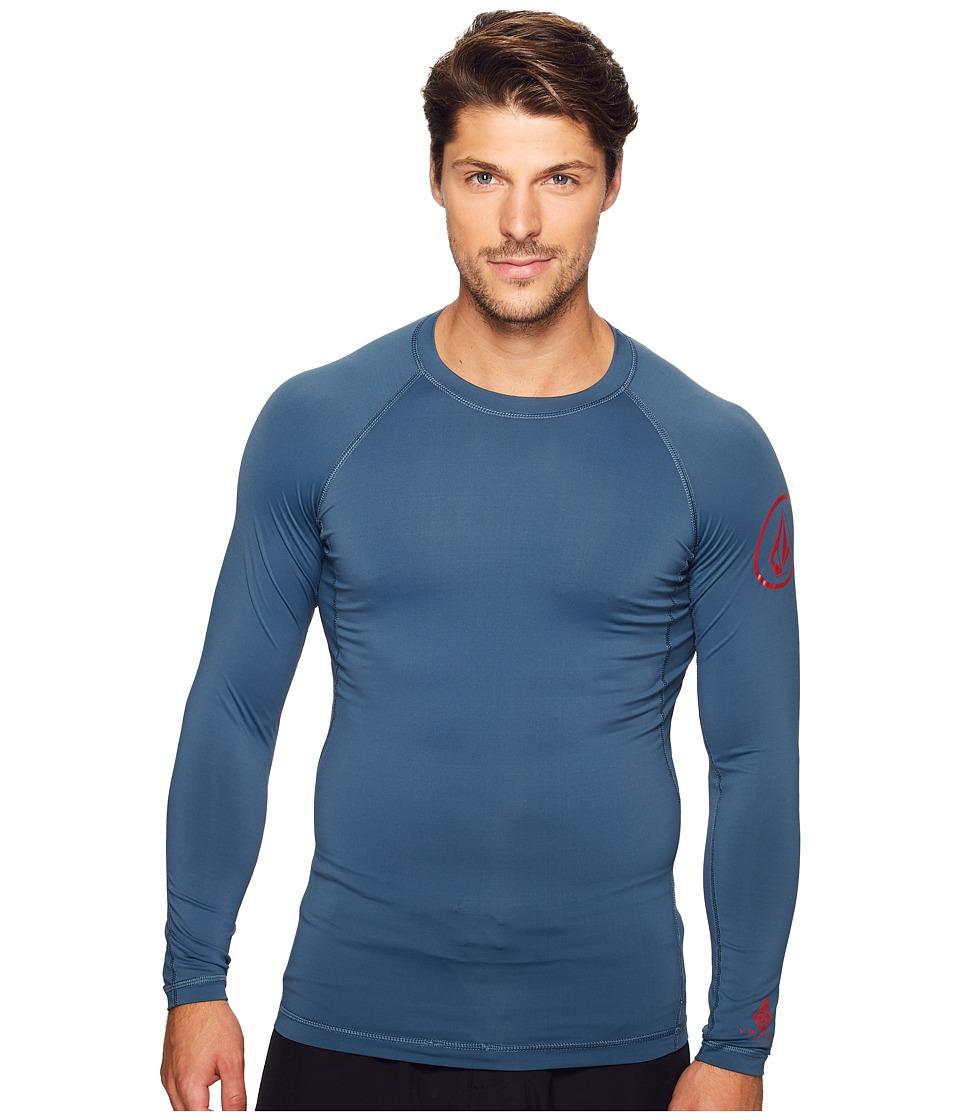Volcom - Lido Solid Long Sleeve Rashguard (Air Force Blue) Men's Clothing
