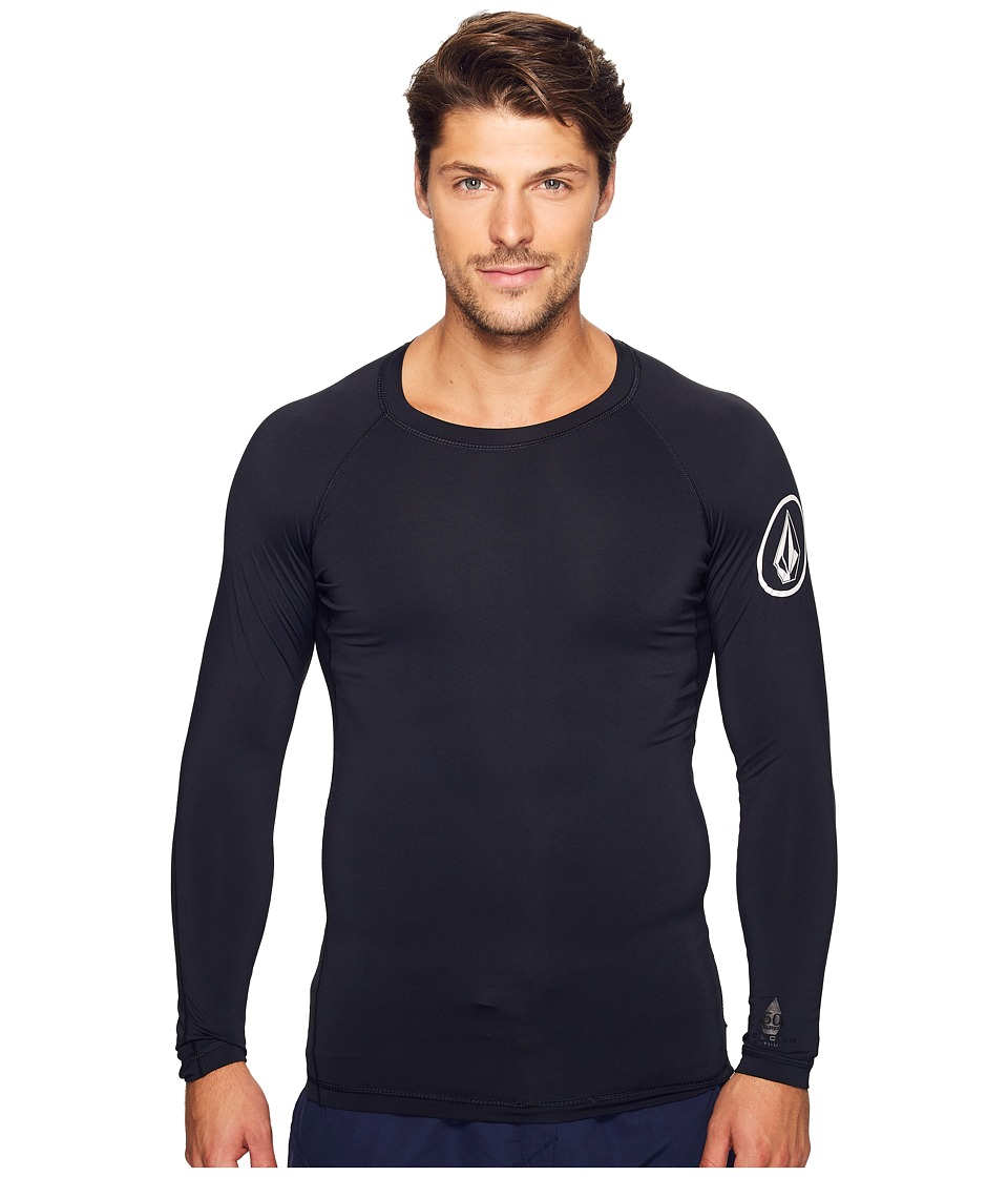 Volcom - Lido Solid Long Sleeve Rashguard (Black) Men's Clothing
