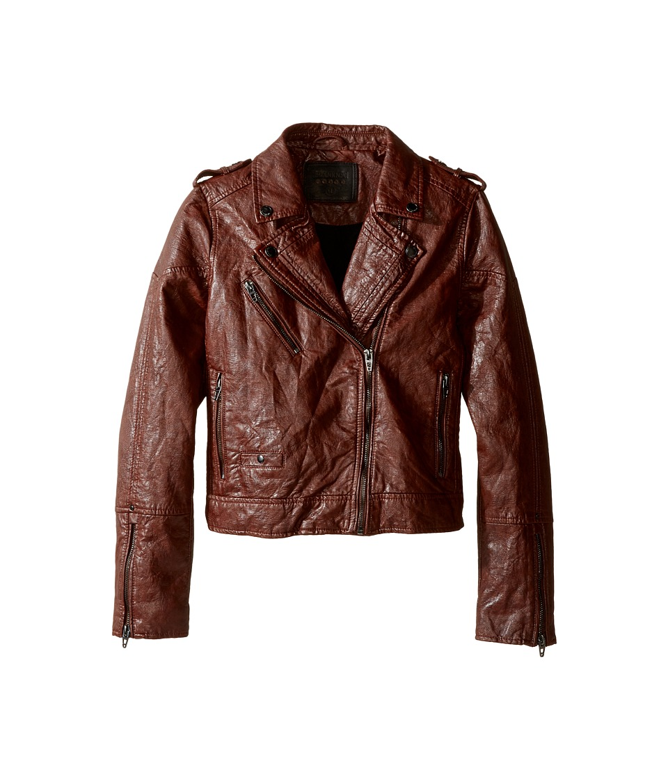 Blank NYC Kids - Vegan Leather Moto Jacket (Big Kids) (Burnt Out) Girl's Coat