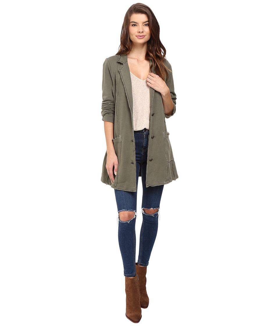 Free People - Effortless Knit Jacket (Olive) Women's Coat